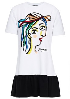 Moschino Woman Two-tone Sequin-embellished Stretch-cotton Jersey Mini Dress White