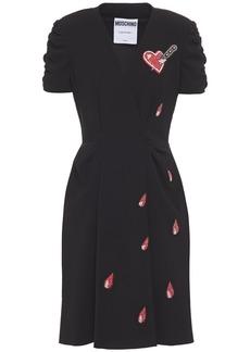 Moschino Woman Wrap-effect Appliquéd Pleated Crepe Dress Black