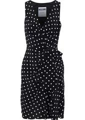 Moschino Woman Wrap-effect Polka-dot Silk Crepe De Chine Mini Dress Black