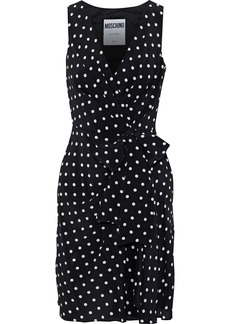 Moschino Woman Wrap-effect Polka-dot Silk Crepe De Chine Mini Dress Black