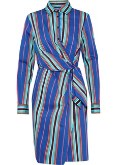 Moschino Woman Wrap-effect Striped Cotton-blend Twill Shirt Dress Multicolor