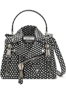 Moschino Woman Zip-detailed Polka-dot Leather Shoulder Bag Black