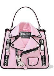 Moschino Woman Zip-embellished Leather Shoulder Bag Baby Pink