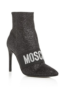 Moschino Women's Embellished Logo Pointed-Toe High-Heel Booties