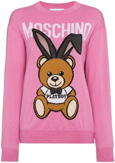 Moschino Wool crew neck sweater with bear logo - Pink & Purple