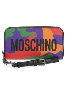 Moschino Zip Around Camo Wristlet