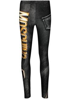 Moschino biker-style graphic-print leggings
