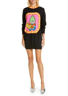 Moschino Moshino Troll Jacquard Long Sleeve Wool Sweater Dress