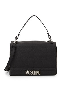 Moschino Nichel Galavan Pebbled Leather Messenger Bag