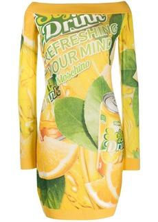 Moschino off shoulder packaging print dress