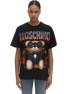 Moschino Over Bat Teddy Print Jersey T-shirt