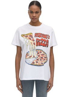 Moschino Over Pizza Print Cotton Jersey T-shirt