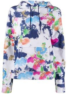 Moschino logo-print paint-effect hoodie