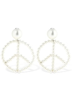 Moschino Peace Imitation Pearl Clip On Earrings