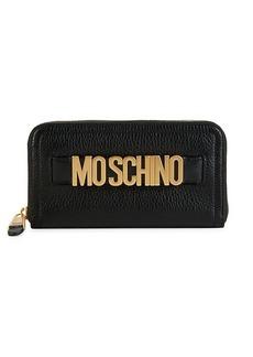 Moschino Pebbled Leather Zip-Around Wallet