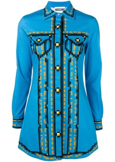 Moschino pixel print shirt dress
