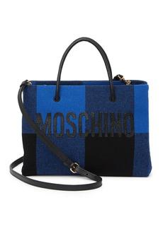 Moschino Plaid Print Logo Tote Bag