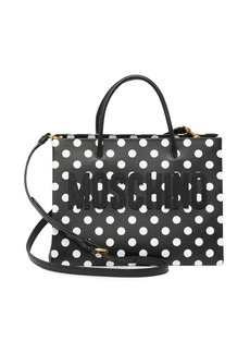 Moschino Polka Dot Print Leather Convertible Tote