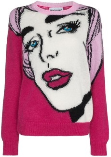 Moschino pop art intarsia mohair virgin wool blend jumper