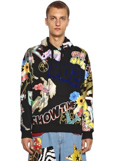 Moschino Printed & Flocked Cotton Sweater W/ Hood