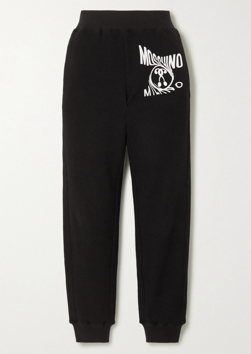 Moschino Printed Cotton-blend Terry Track Pants