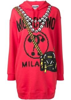 Moschino printed logo longline hoodie