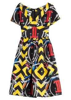 Moschino Printed Silk Cocktail Dress