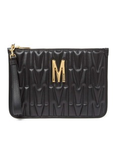 Moschino Quilted Leather Clutch