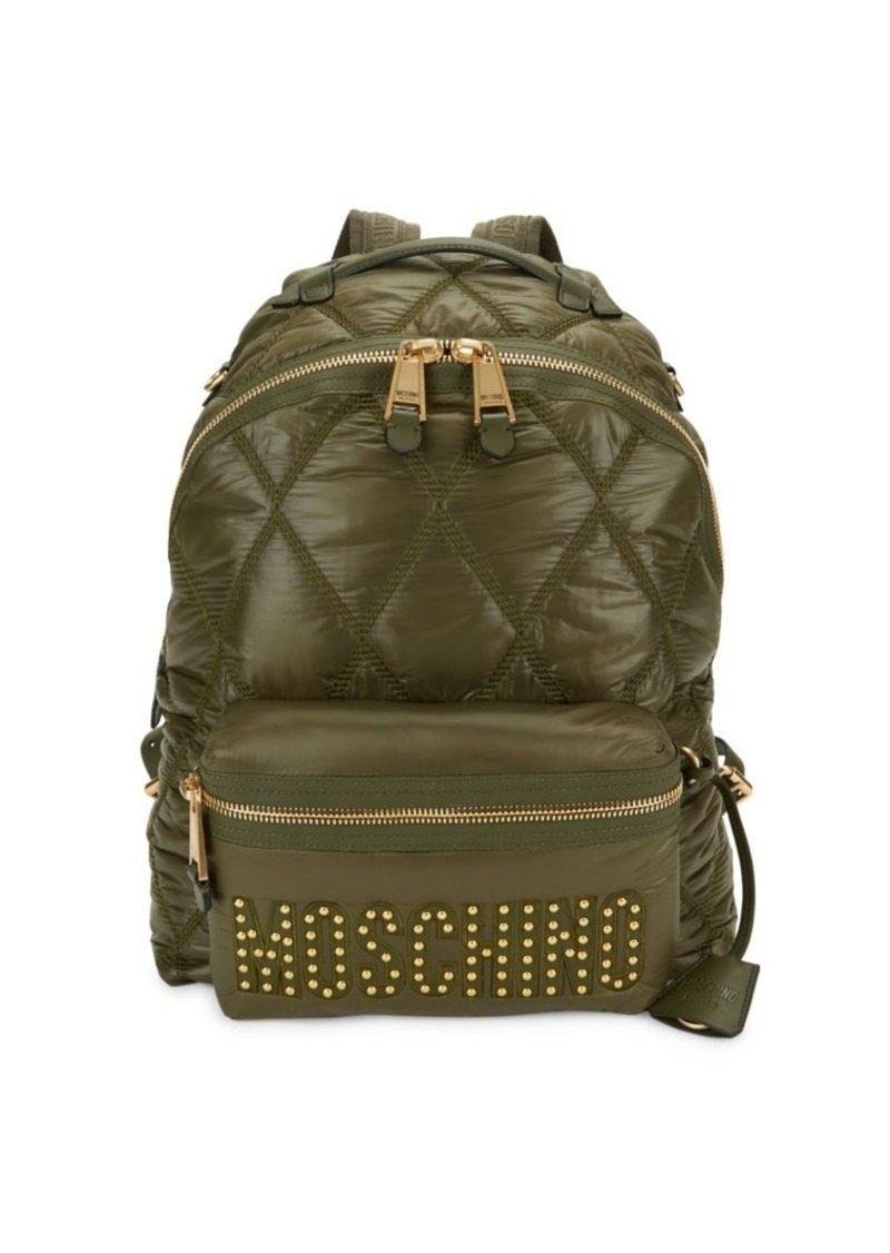 Moschino Quilted Logo Faux Leather Backpack