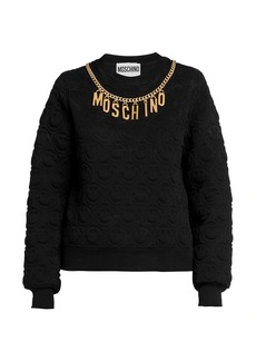 Moschino Quilted Smiley Chain Logo Sweater