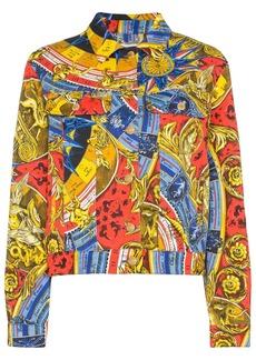 Moschino Roman scarf-print denim jacket