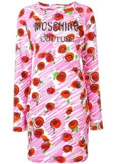 Moschino rose logo fitted dress