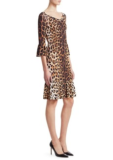 Moschino Ruffle Sleeve Leopard Print Dress