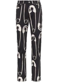 Moschino safety pin print slim jeans