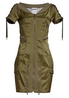 Moschino Satin Dress with Zippers and Lace-Up Detail
