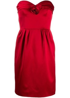 Moschino satin rose strapless dress