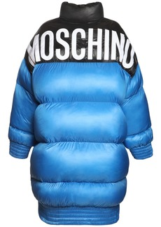 Moschino Shiny Nylon Puffer Coat W/back Logo