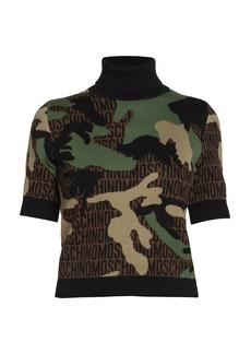 Moschino Short-Sleeve Logo Camo Wool Knit Turtleneck Top