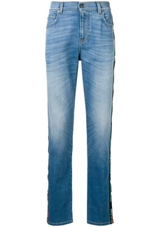 Moschino side-logo fitted jeans