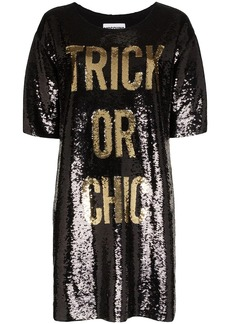 Moschino slogan sequinned mini dress