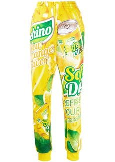 Moschino soda slogan trousers