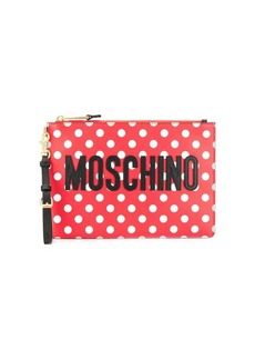 Moschino spotted print logo clutch bag