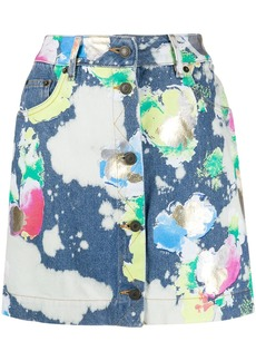 Moschino spray paint denim mini skirt