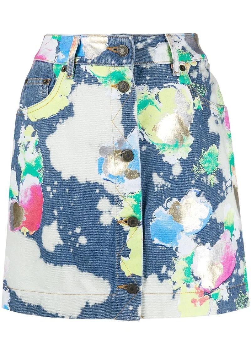 Moschino spray paint denim mini skirt