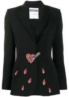 Moschino stabbed heart crystal-embellished blazer