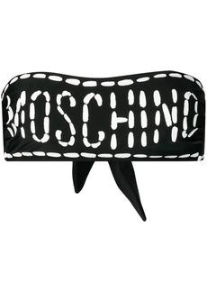 Moschino stippled logo bikini top