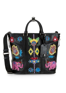 Moschino Studded & Embroidered Leather Tote