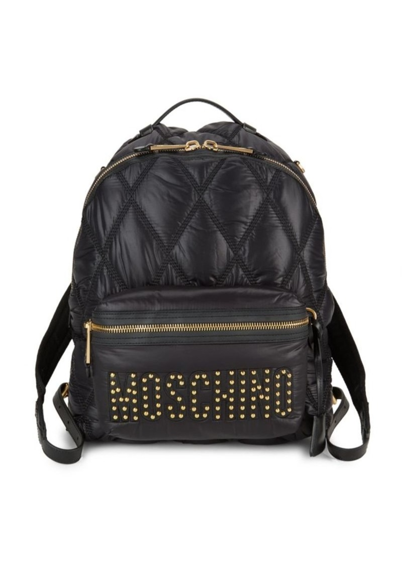Moschino Studded Logo Quilted Backpack