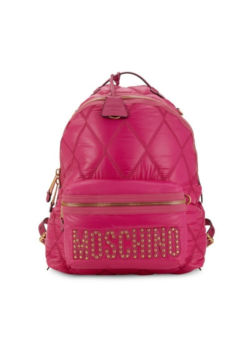 Moschino Studded Quilted Logo Faux-Leather Backpack