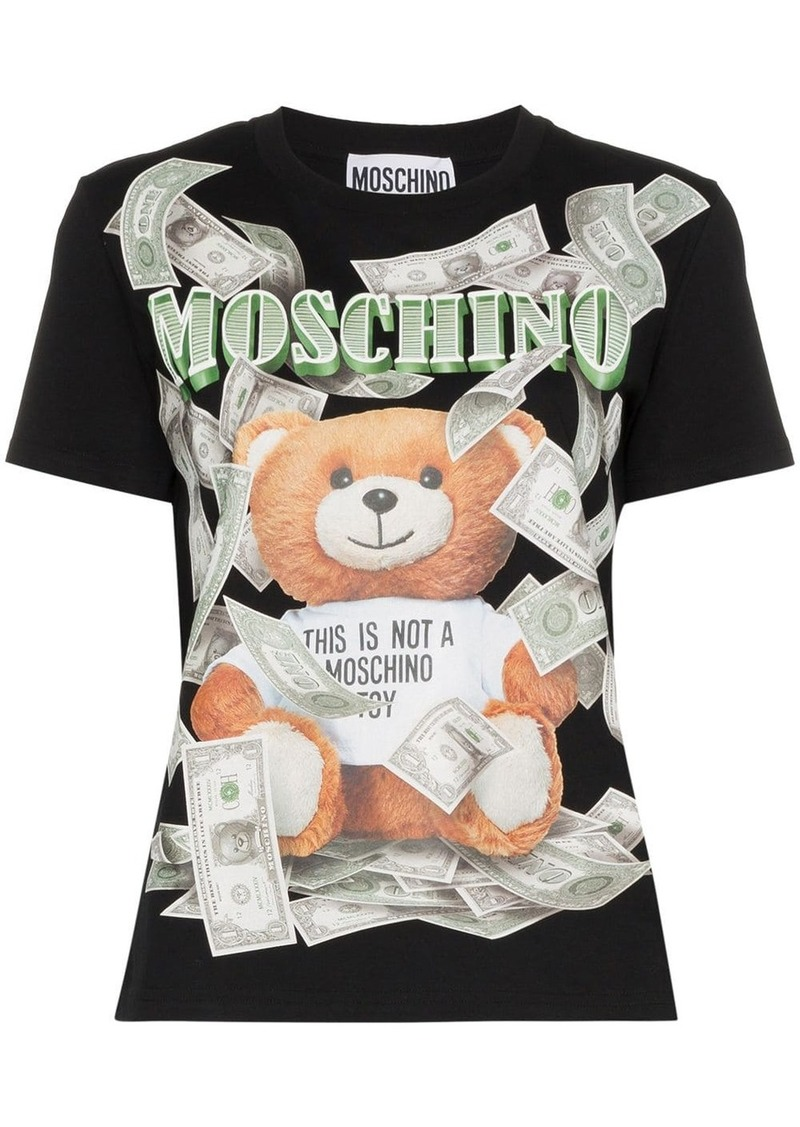 Moschino Teddy banknote logo T-shirt